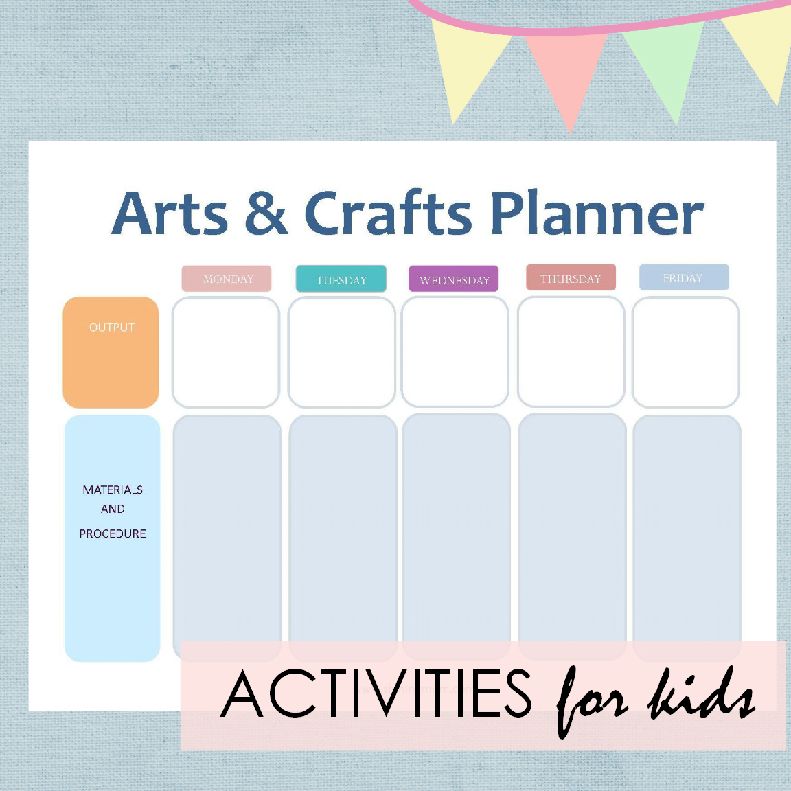 activities planner for kids