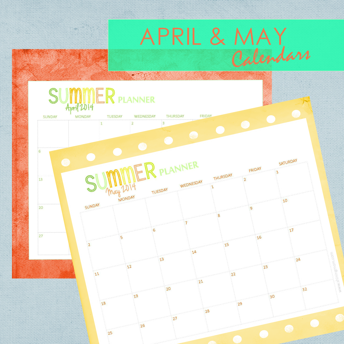 april and may 2014 printable calendar
