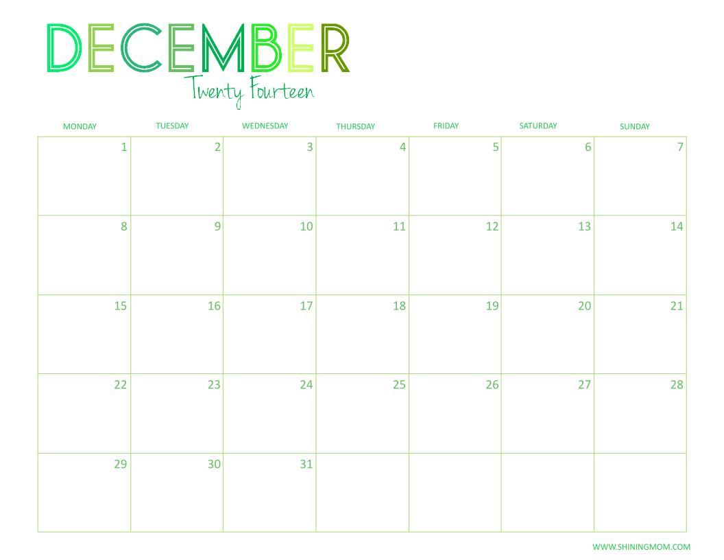DECEMBER 2014 CALENDAR FREE