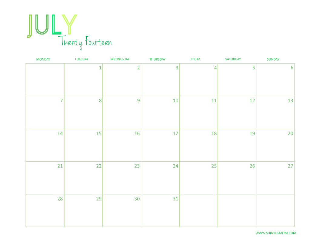 JULY 2014 CALENDAR DESKTOP FREE