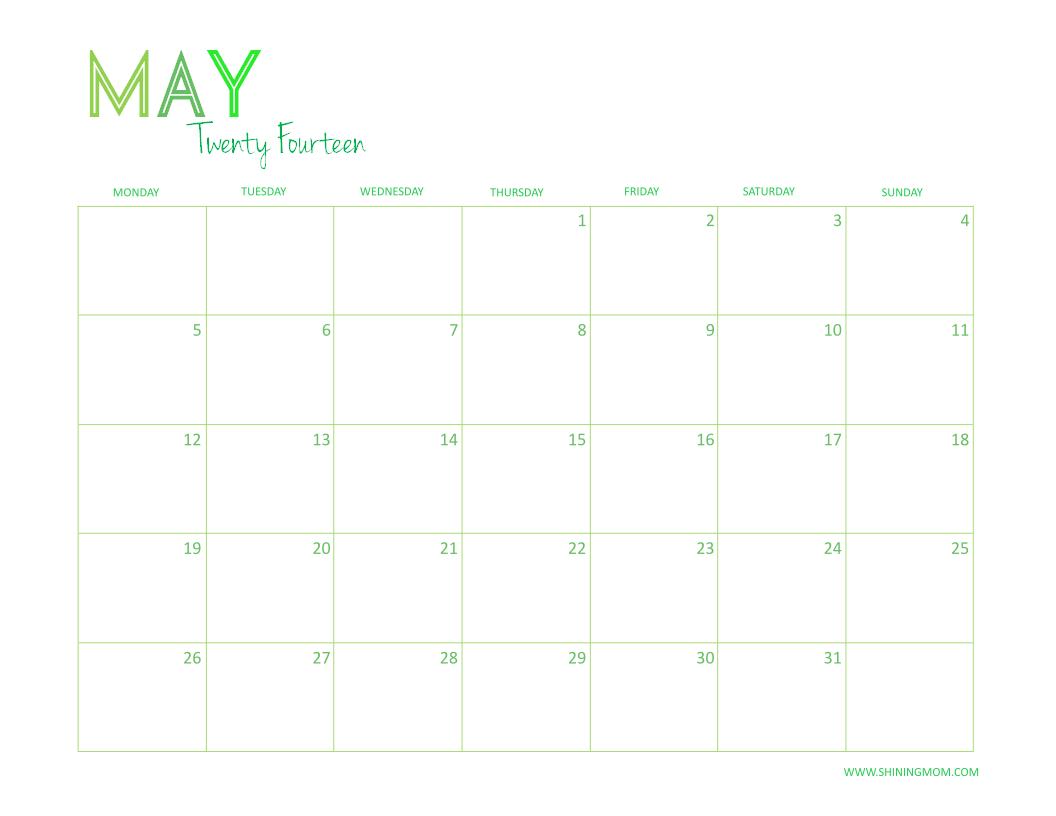 MAY 2014 PRINTABLE CALENDAR