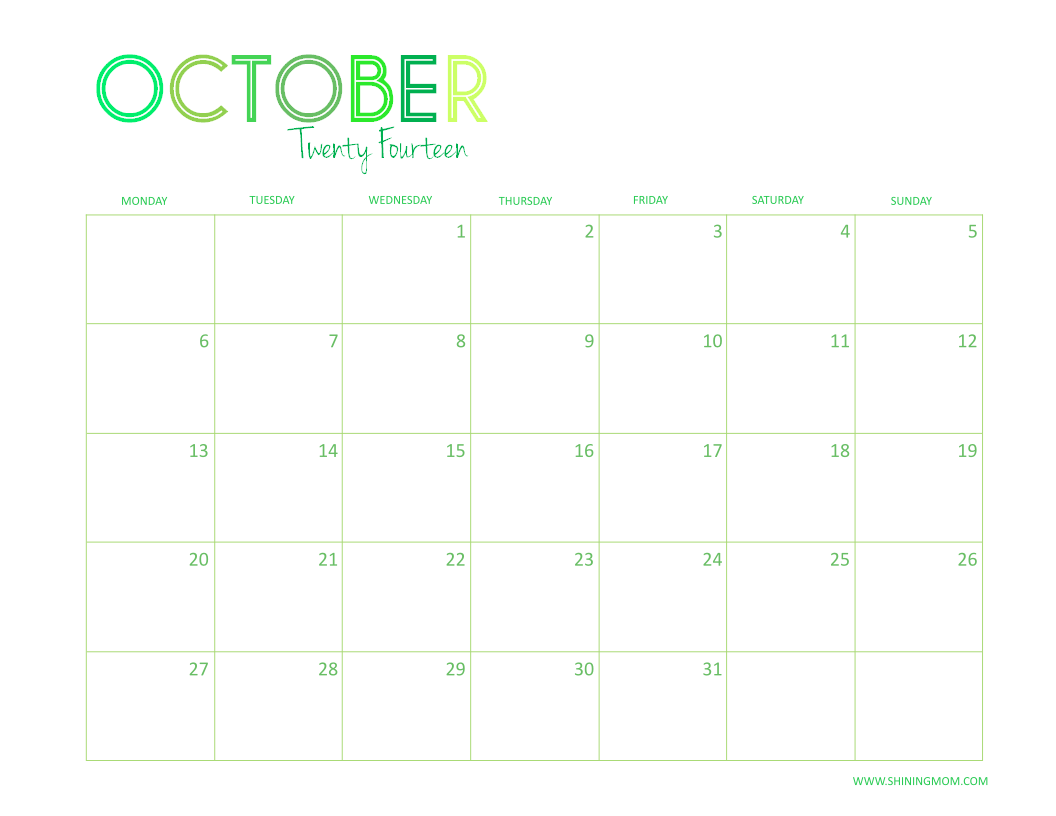 OCTOBER 2014 DESKTOP CALENDAR
