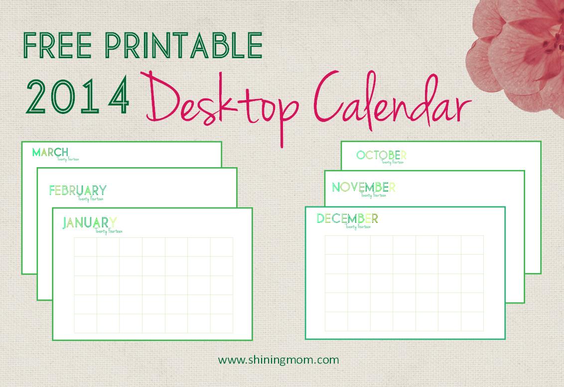 free printable 2014 desktop calendar