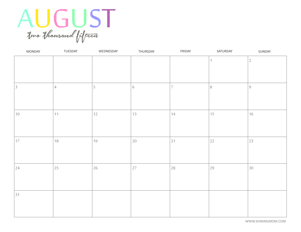 Calendar Monthly August : The printable monthly calendar by shiningmom is here
