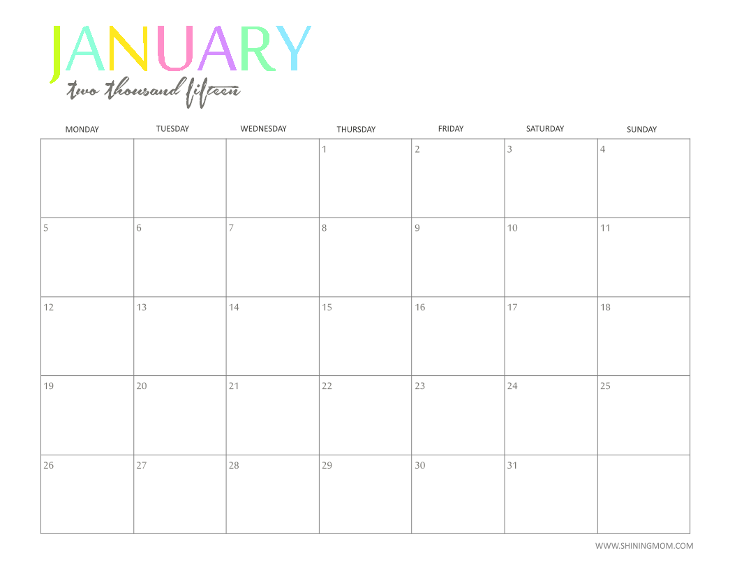 Free Printable January 2015 Calendar | New Calendar Template Site