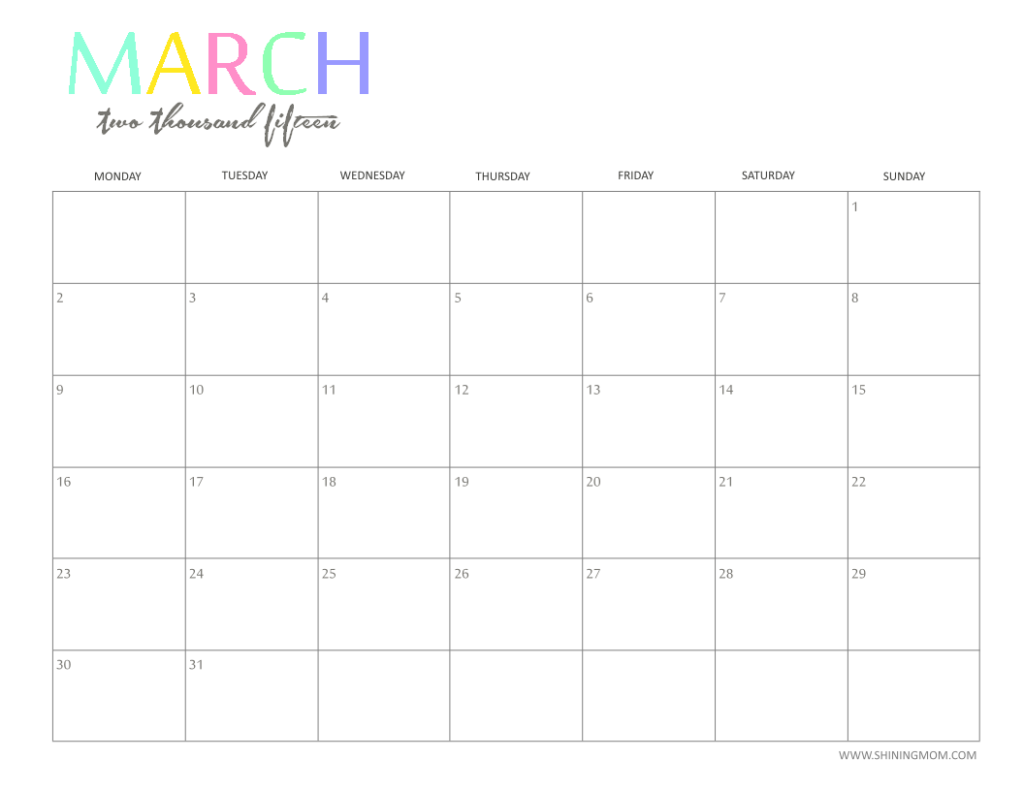 Calendar April And March : Free printable calendar by shiningmom fun and