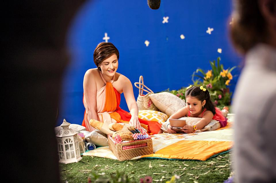 Mommy Cheska and Kendra! This is a behind-the-scene photo of the TVC