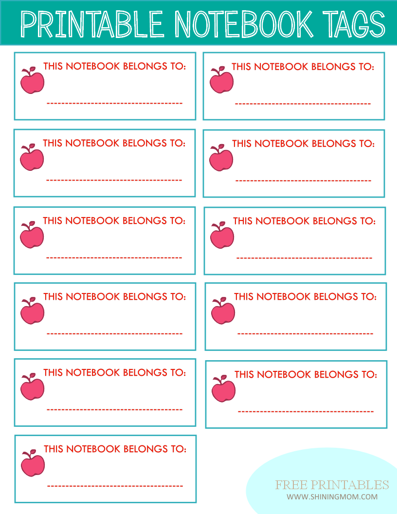 printable notebook labels