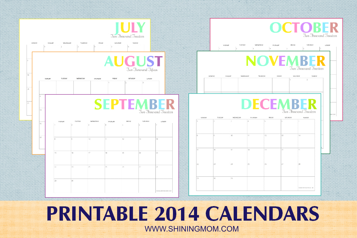 free printable 2014 monthly calendars Car Tuning
