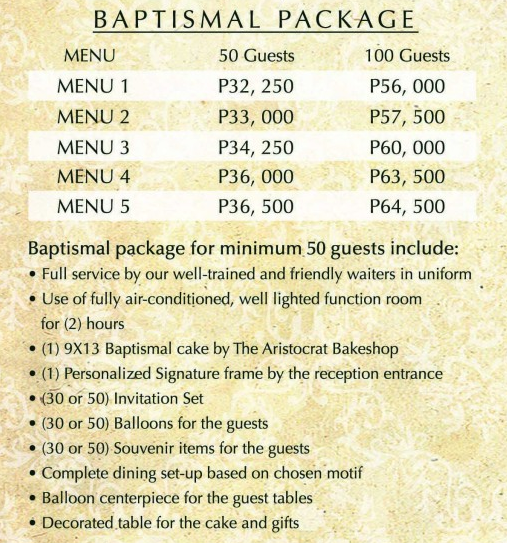 baptism package at aristocrat
