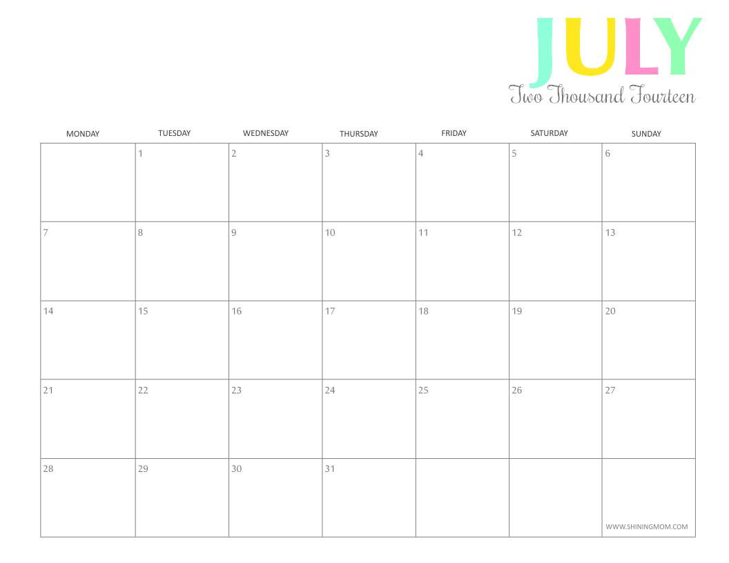 printable july 2014 calendar