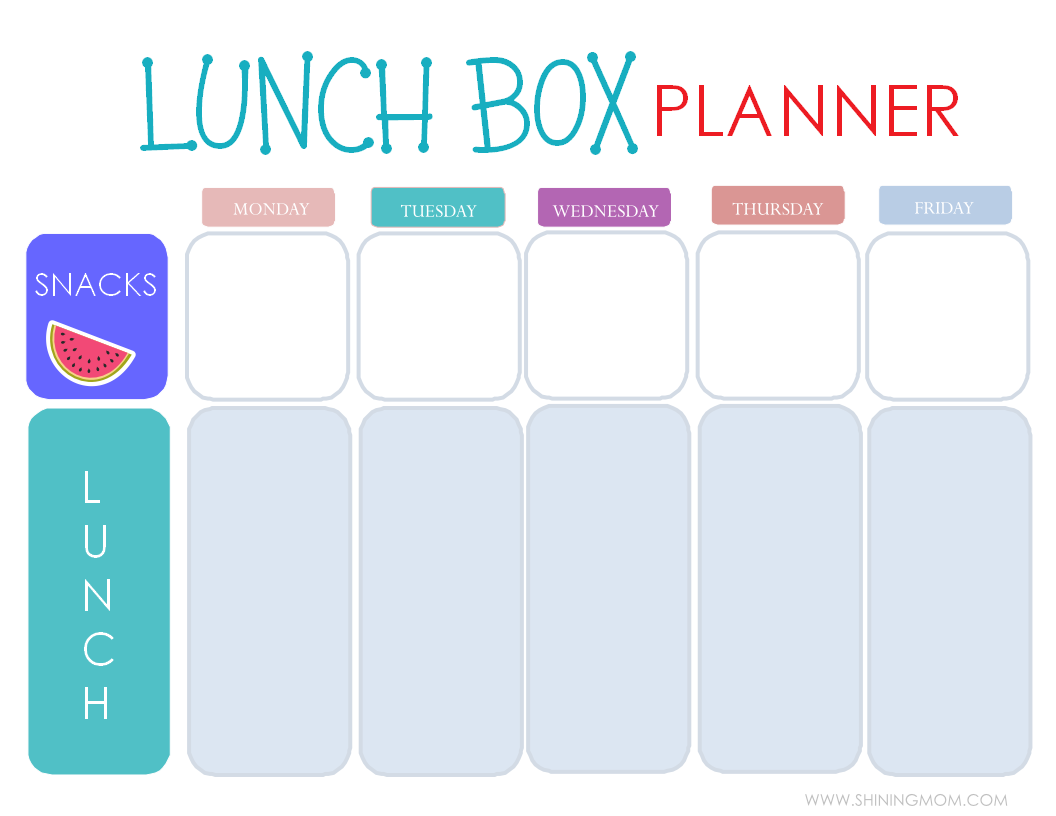 Free printable easy 5 day lunchbox planner for For planner
