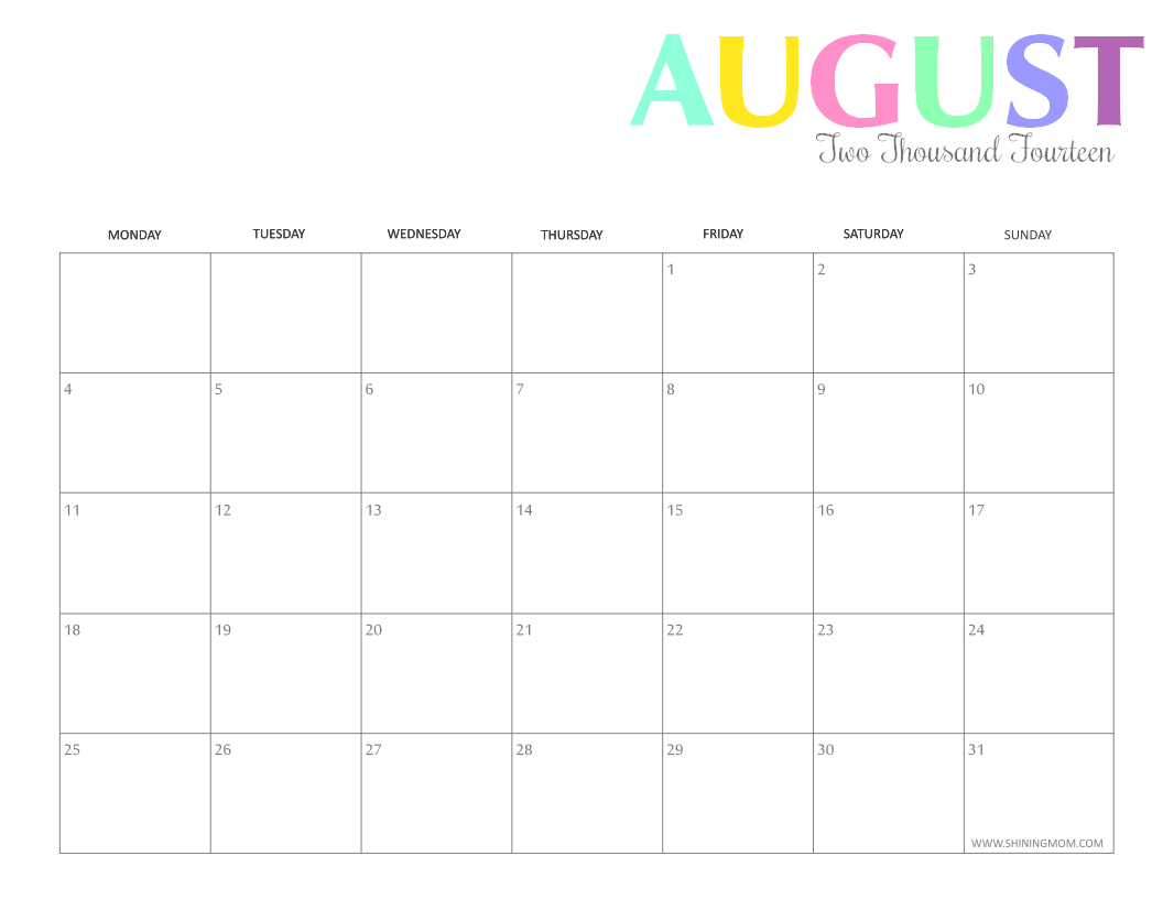 photo regarding Free Printable Calendar August referred to as Free of charge Printable: Vibrant 2014 Calendars by means of Shining Mother