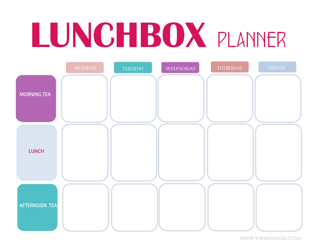 printable lunch box planner