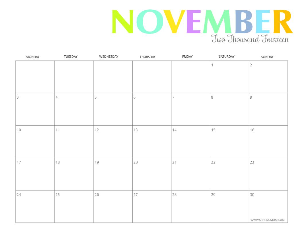 printable octiber 2014 calendar