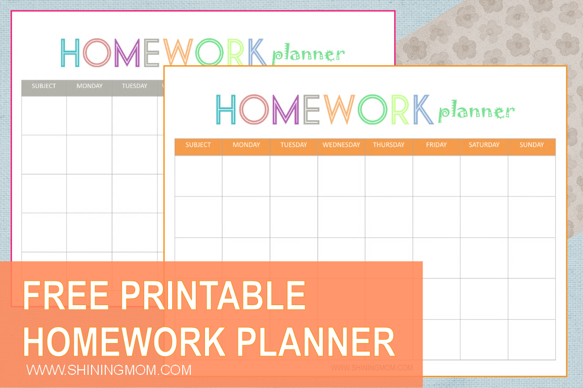 Free Printable Homework Planner Shining Mom