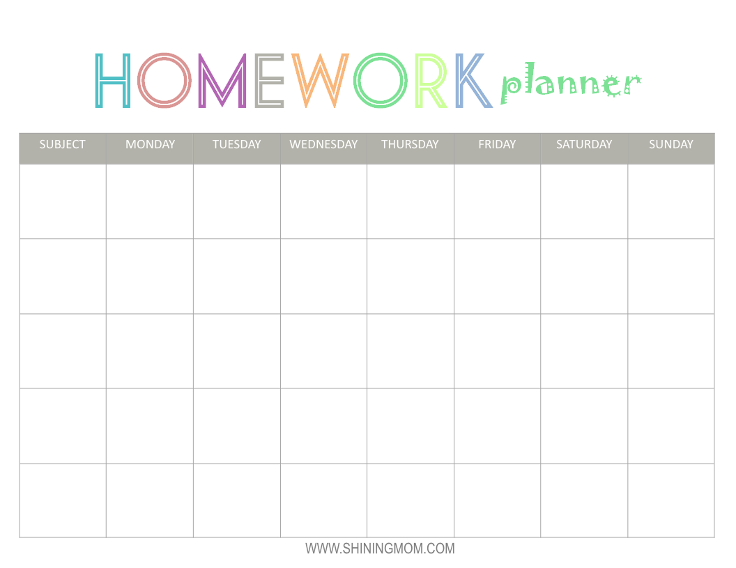 homework planner printables - Selo.l-ink.co