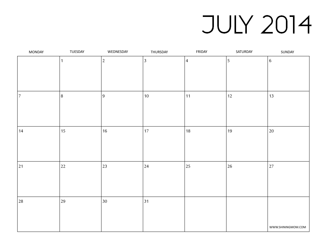 JULY 2014 CALENDAR BLACK AND WHITE