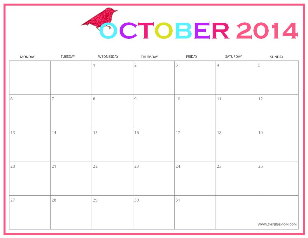 OCTOBER 2014 CALENDAR PDF