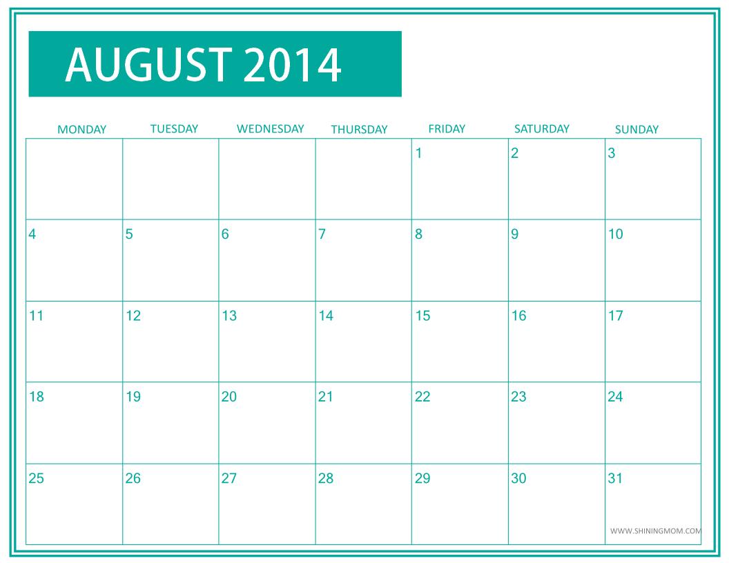 Printable August 2014 Calendar