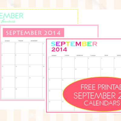 Free Printable September 2014 Calendar