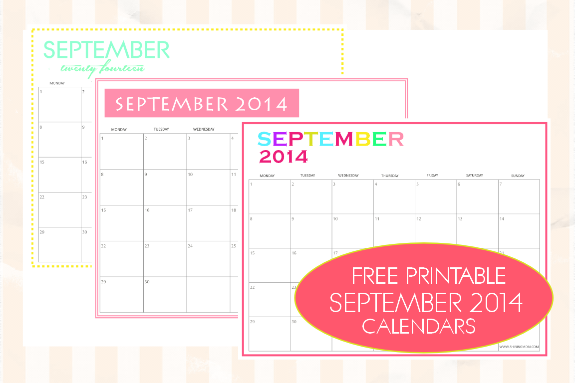 A set of free printable September 2014 calendars by ShiningMom.com!