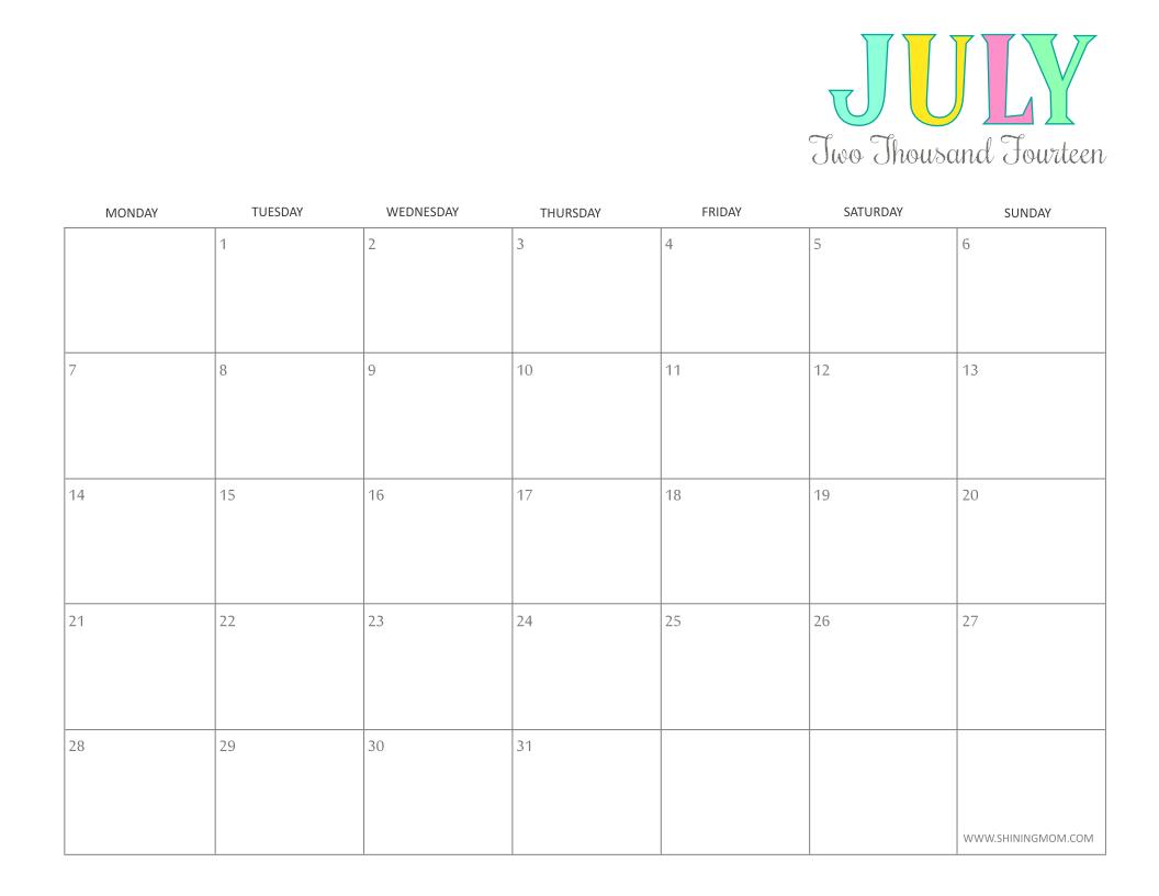 July 2014 Calendar Printable