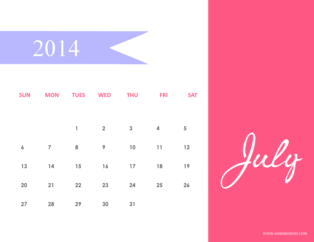 free printable july 2014 calendar shining mom