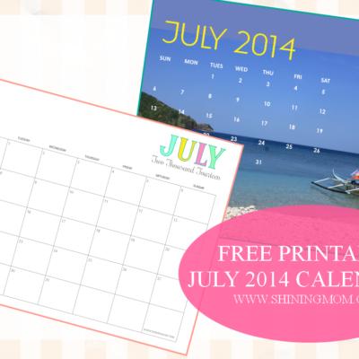 Printable July 2014 Calendars!
