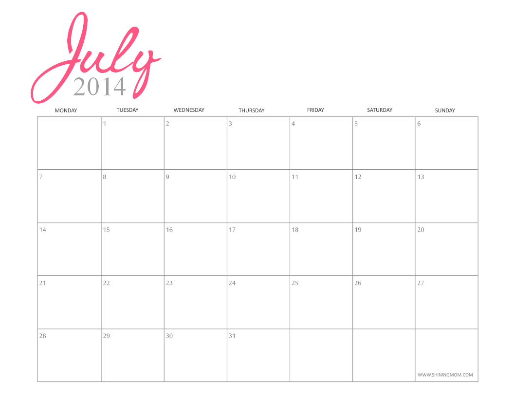 july 2014 calendar monthly