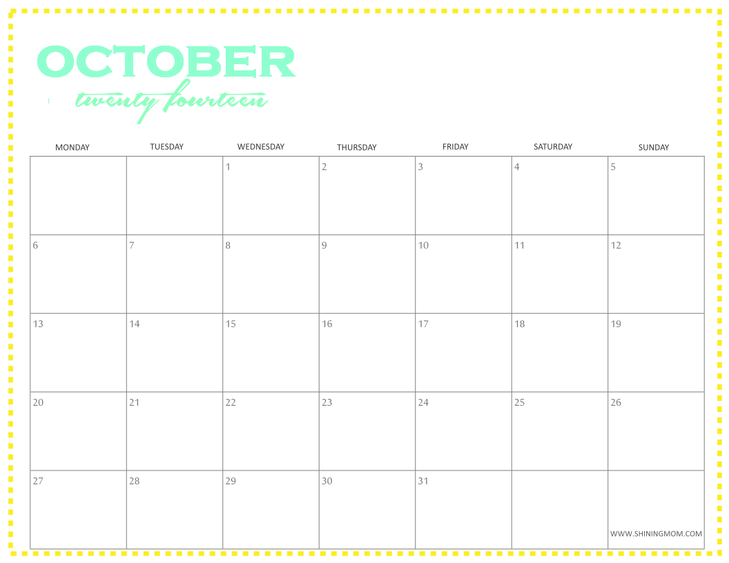 simple october 2014 printable calendars if you like your calendar ...