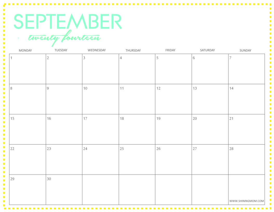 september 2014 calendar free