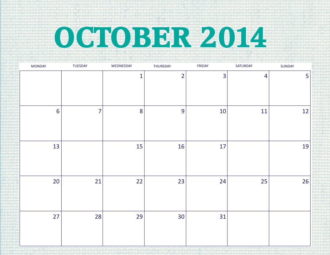 free printable october 2014 monthly calendar