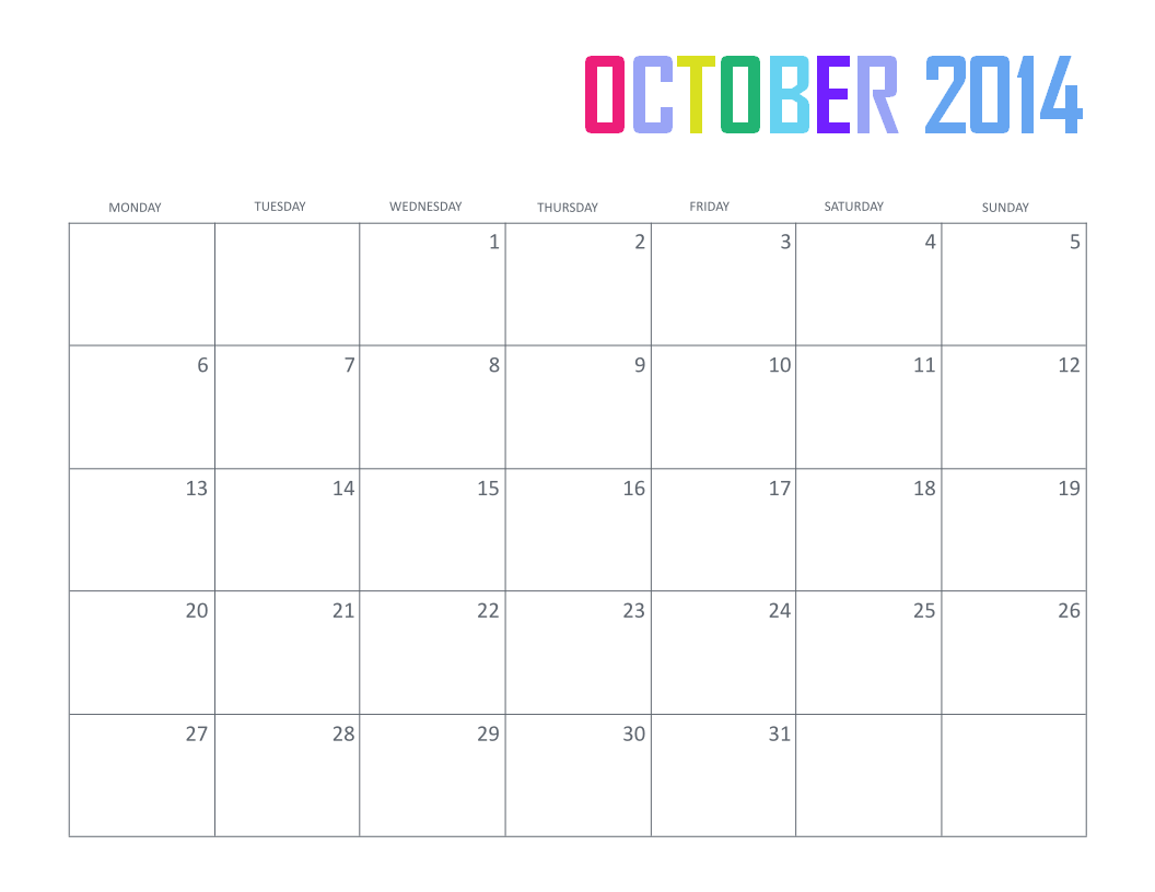 free printable october 2014 calendar monthly
