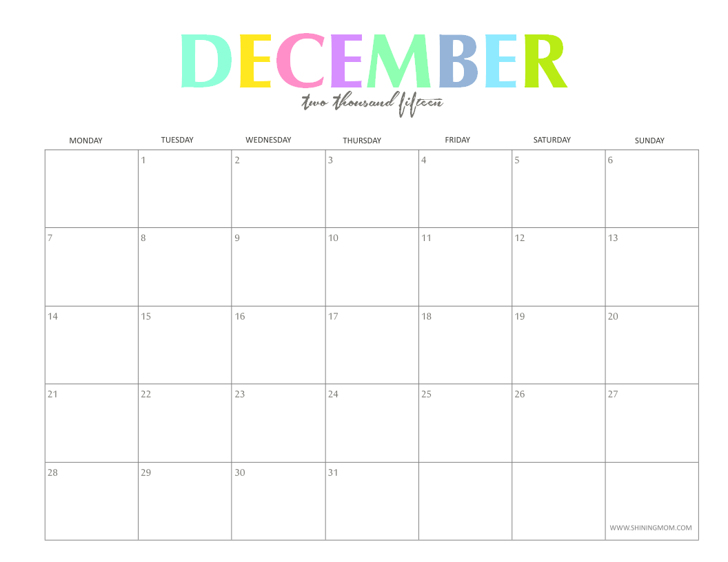 the colorful 2015 monthly calendars by shiningmom are here!