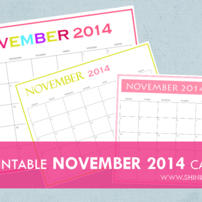 Free Printable November 2014 Calendars by Shining Mom