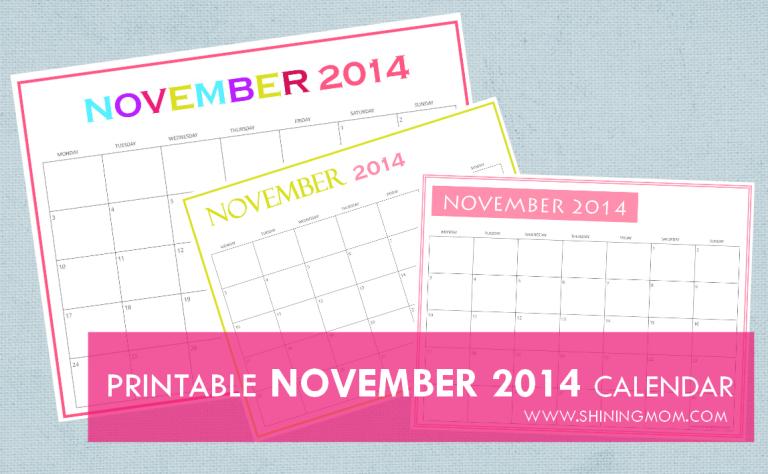 FREE PRINTABLE NOVEMBER 2014 CALENDAR image