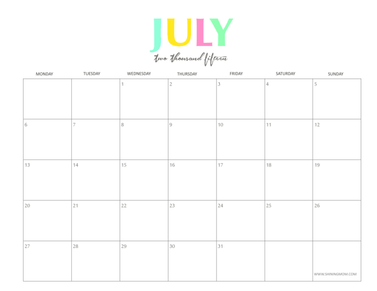 July 2015 monthly calendar