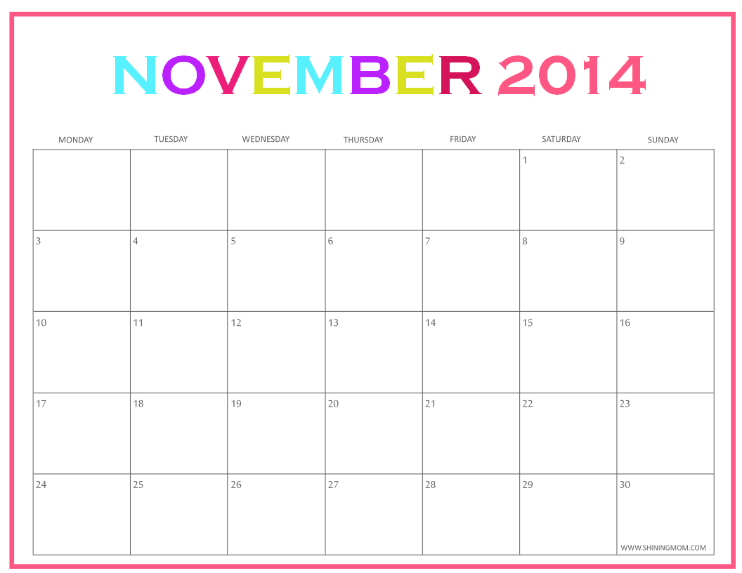 November 2014 calendar downloadable