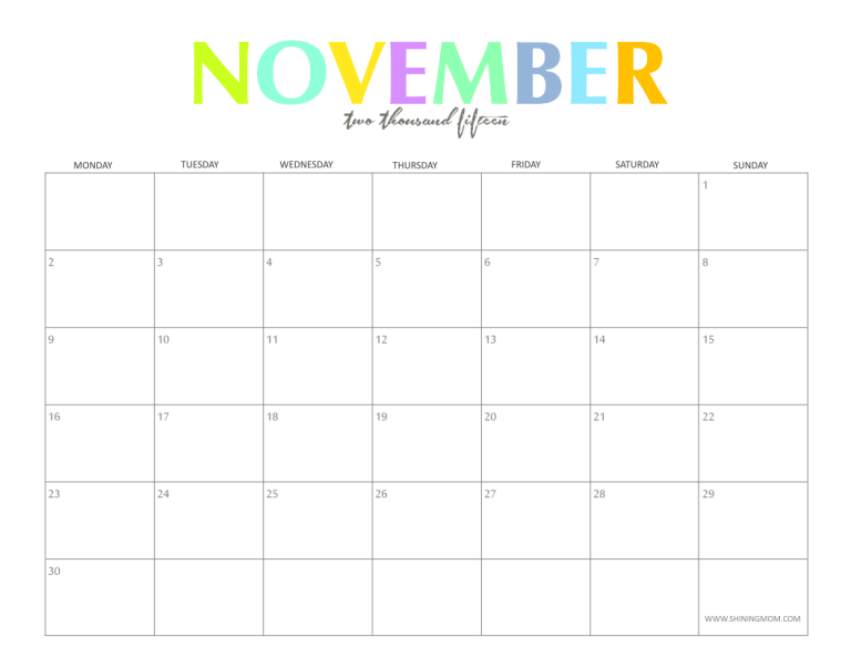 The colorful 2015 Monthly Calendars by ShiningMom.com are here!