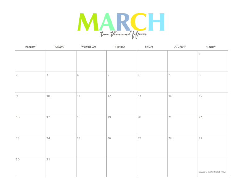 Free Monthly Calendar 2015 Printable Leoncapers