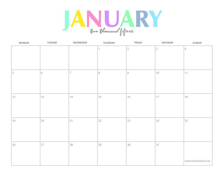 Calendar 2015 Printable Monthly Free Romeondinez