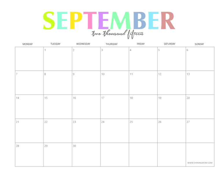 september 2015 calendar free