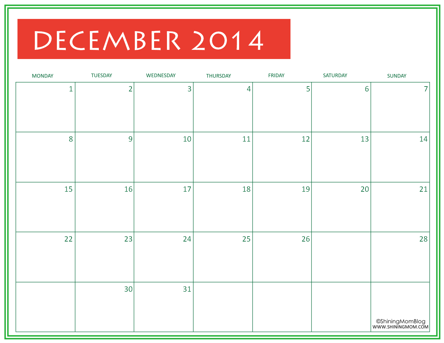 Christmas Calendar 2014 : Free printable december calendar by shining mom