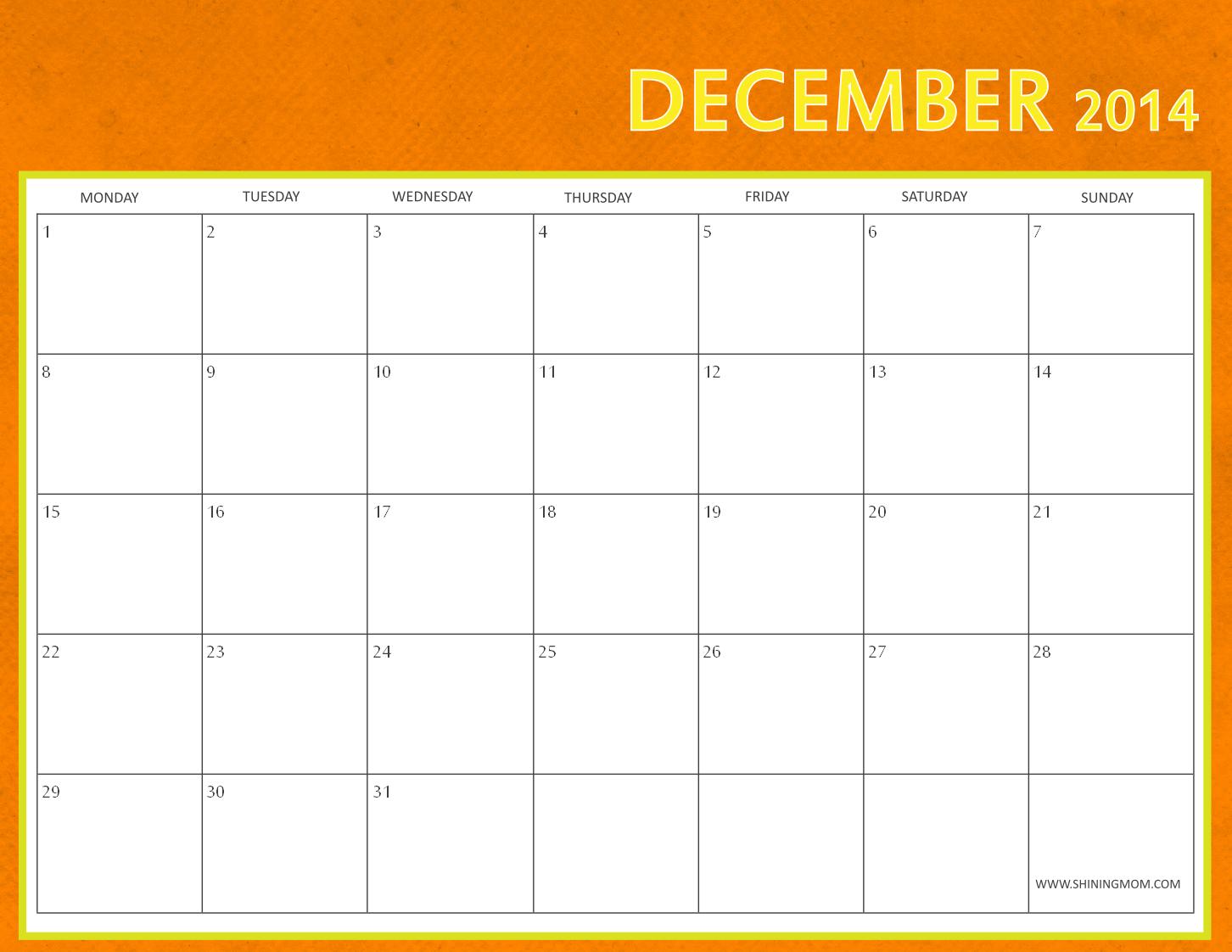 printable december 2014 calendar free