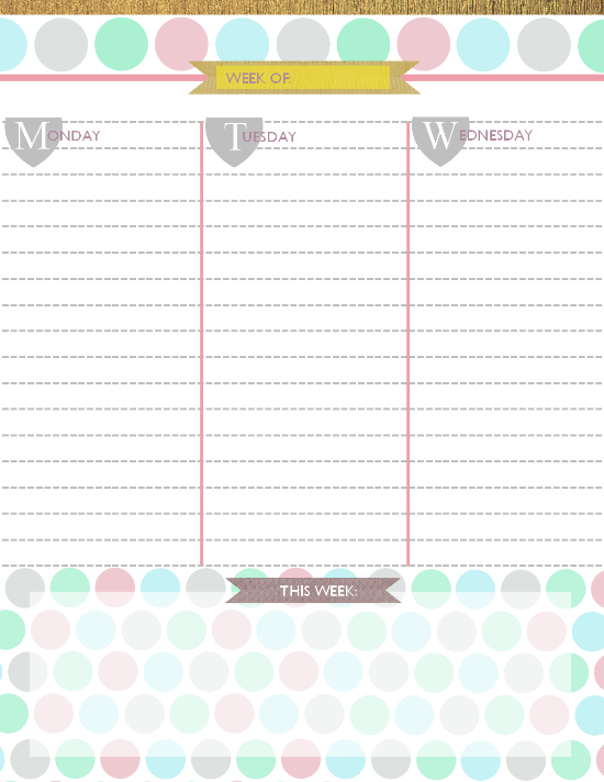 Printable 2015 Weekly Planners | New Calendar Template Site