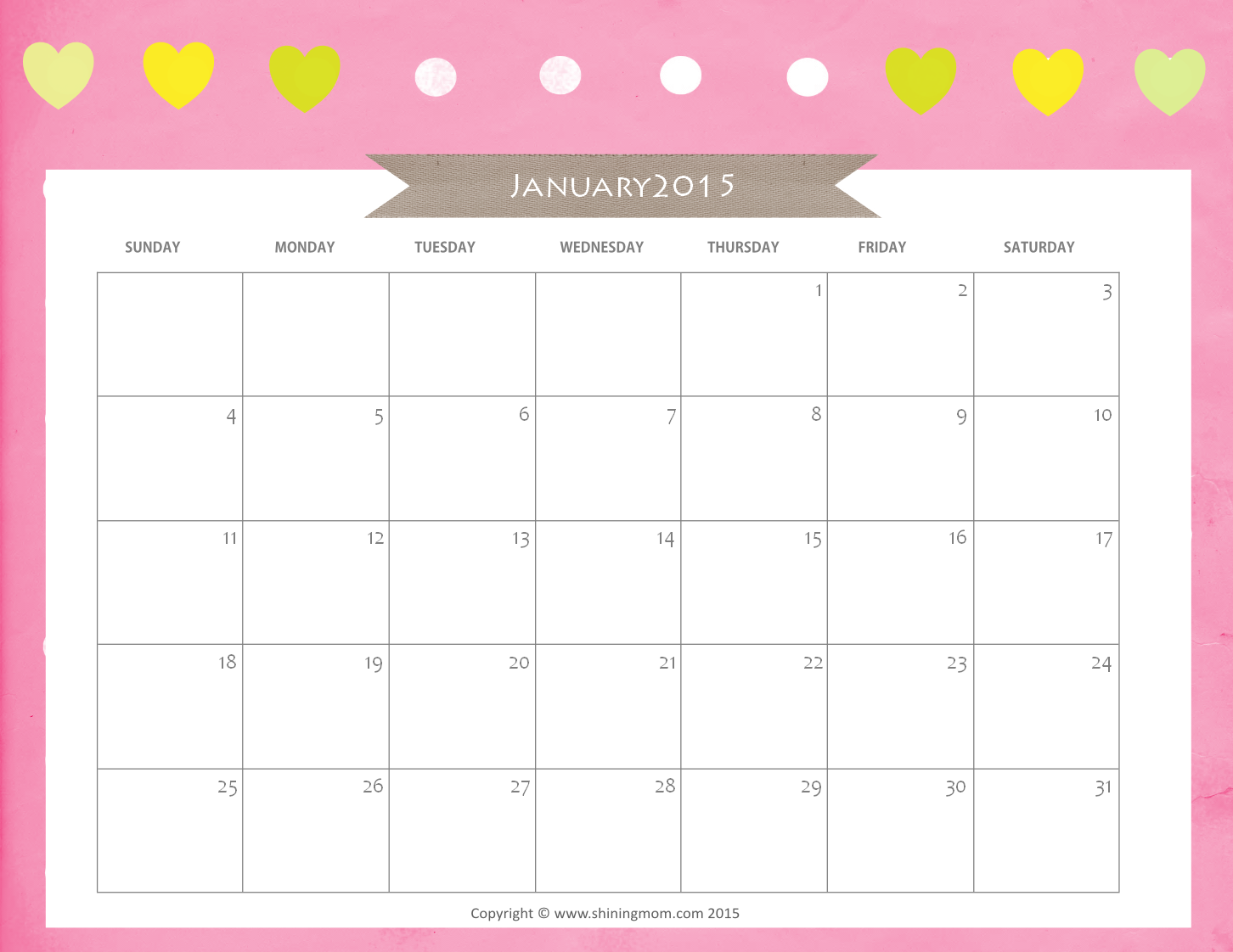 January 2015 Calendar in Refreshing Greens
