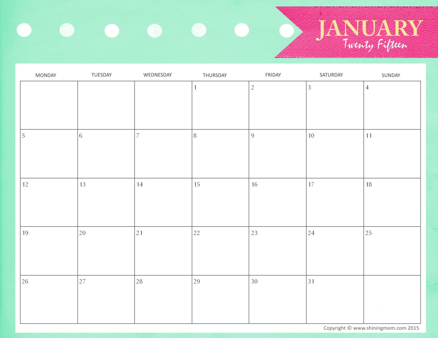picture about January Calendar Printable known as Totally free Printable January 2015 Calendars