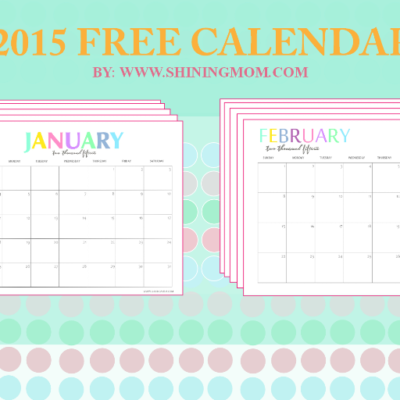 Free Printable: Your Pretty 2015 Monthly Calendars!
