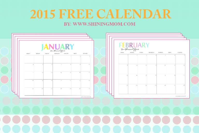 Free Printable Your Pretty 2015 Monthly Calendars